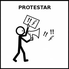 PROTESTAR - Pictograma (blanco y negro)