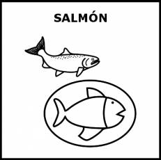 SALMÓN (ALIMENTO) - Pictograma (blanco y negro)