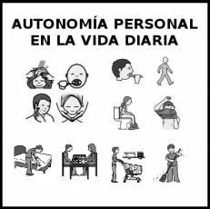 AUTONOMÍA PERSONAL EN LA VIDA DIARIA - Pictograma (blanco y negro)
