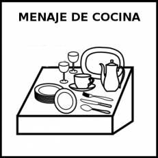 MENAJE DE COCINA - Pictograma (blanco y negro)