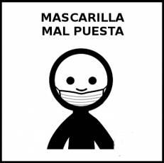 MASCARILLA MAL PUESTA - Pictograma (blanco y negro)