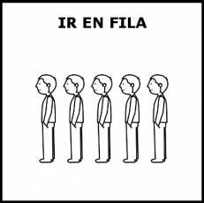 IR EN FILA - Pictograma (blanco y negro)